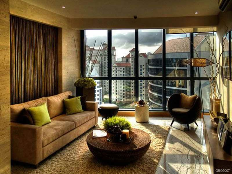 Beautiful Rattan Living Room Furniture With Large Windows Using Brown Color Schemes:  Charming Brown Living Room Photo