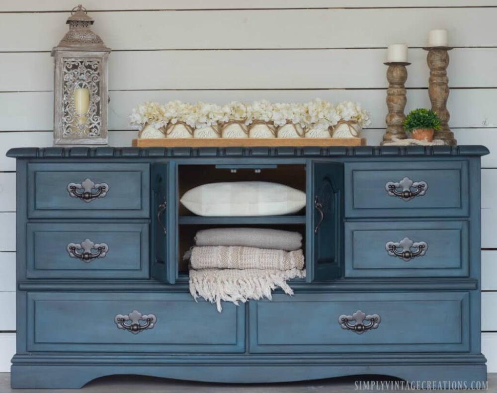 DIY Blue Dresser Makeover w/ Black Wax & Color Wash in ...