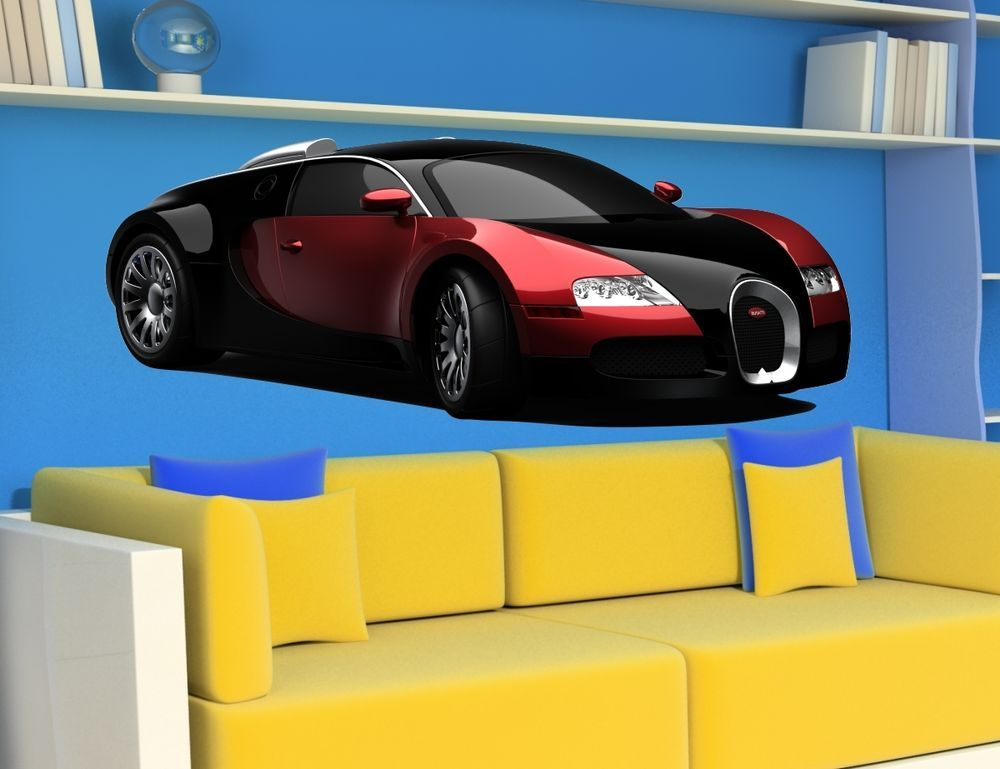 Car sport racing car bugatti veyron sticker cars decal wall stickers room