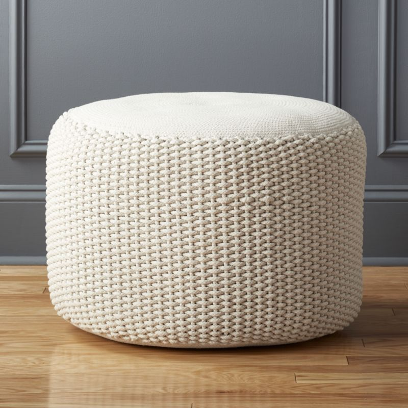 Criss Cream Knit Pouf Reviews Pouf Seating Floor Pouf Knitted Pouf