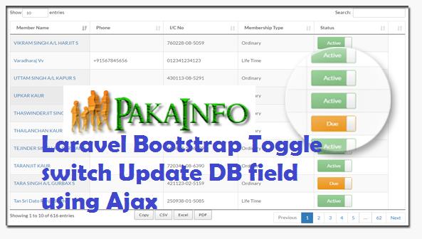 Laravel Bootstrap Toggle switch Update DB field using Ajax