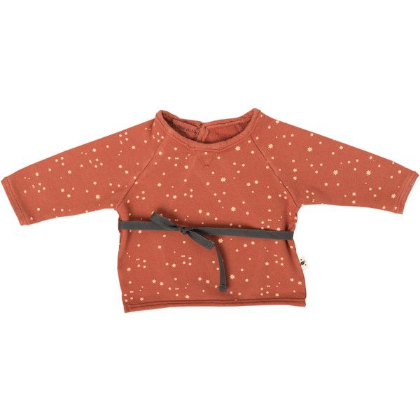 Stars Ribbon Waist Sweat by My Little Cozmo ❤ liked on Polyvore featuring tops, hoodies, sweatshirts, red top, red sweatshirt, star print top and star sweatshirt