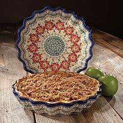 Polish Stoneware Pie Plate- the blue rim on the edge indicates a master painter. Not all polish pottery has this. We love the intricacy of design.