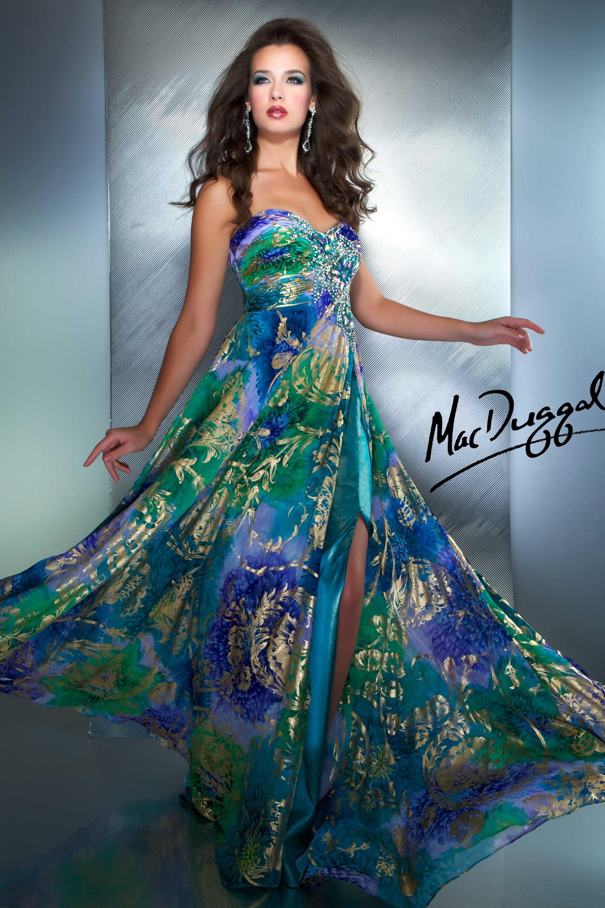 Peacock Floral Print Prom Dress - 50017M | Mac Duggal | Prom Stuff ...