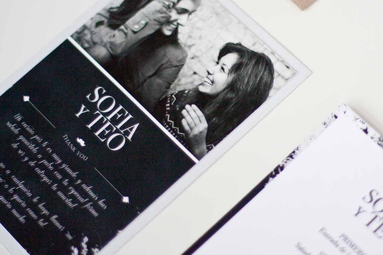 Morestopandthink | Think in blackboard. Detalles de boda para invitados: etiqueta regalo y etiqueta de vino. Tarjeta de agradecimiento para los invitados más queridos y guía de ceremonia.
