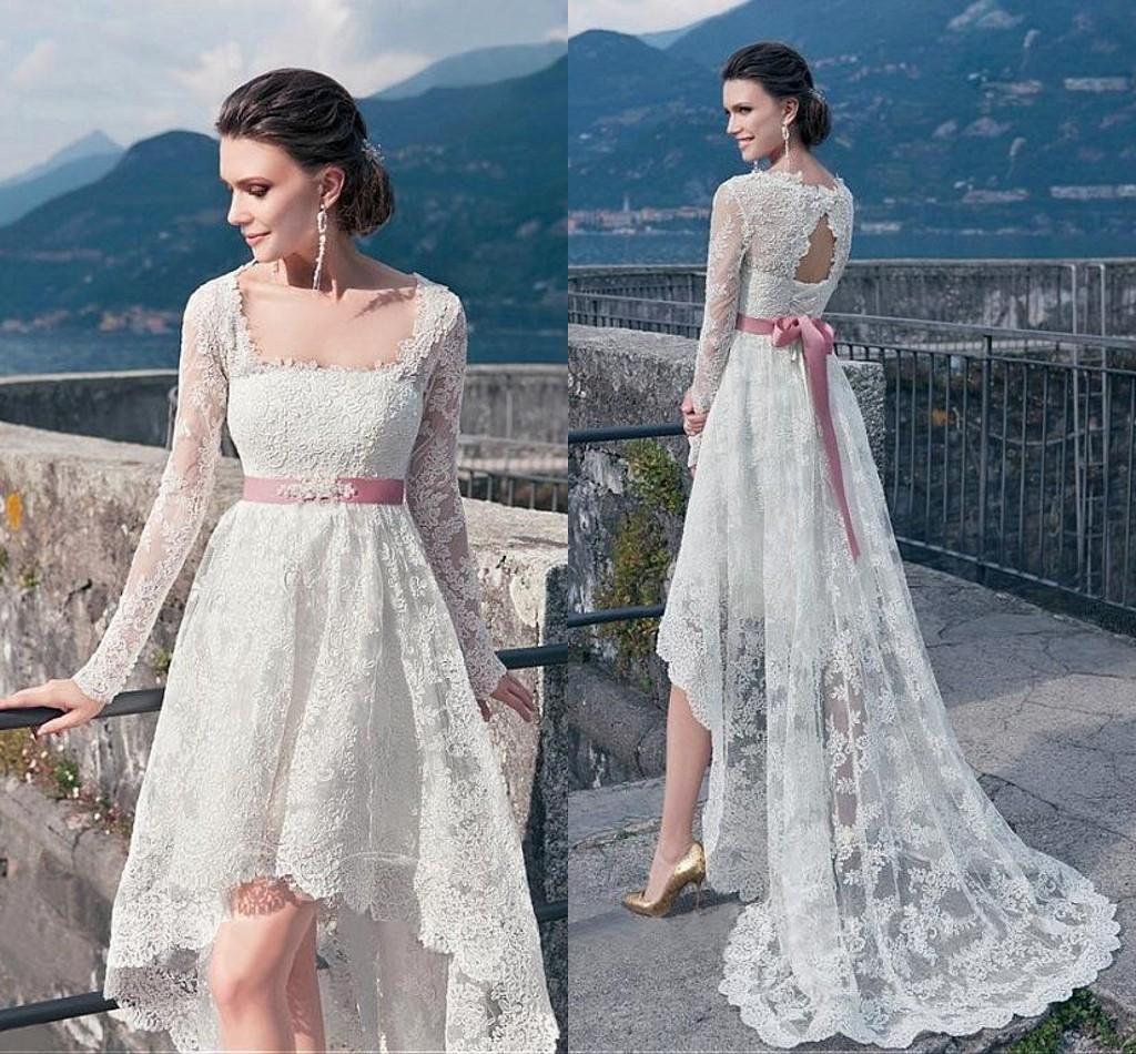 Plus size boho wedding dresses 2016 full lace long sleeves for Long sleeve high low wedding dresses