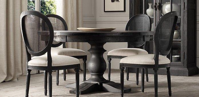 17th C Monastery Round Table Restoration Hardware Black Round