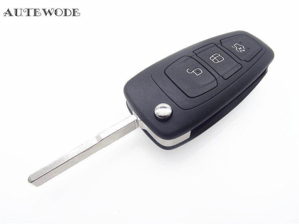 Autewode Replacement New Flip Remote Key Shell Fit For Ford Focus Mendeo Fiesta Titanium Key Fob 3 Button Case Accessories 1pc Accessories Key Fob Fobs