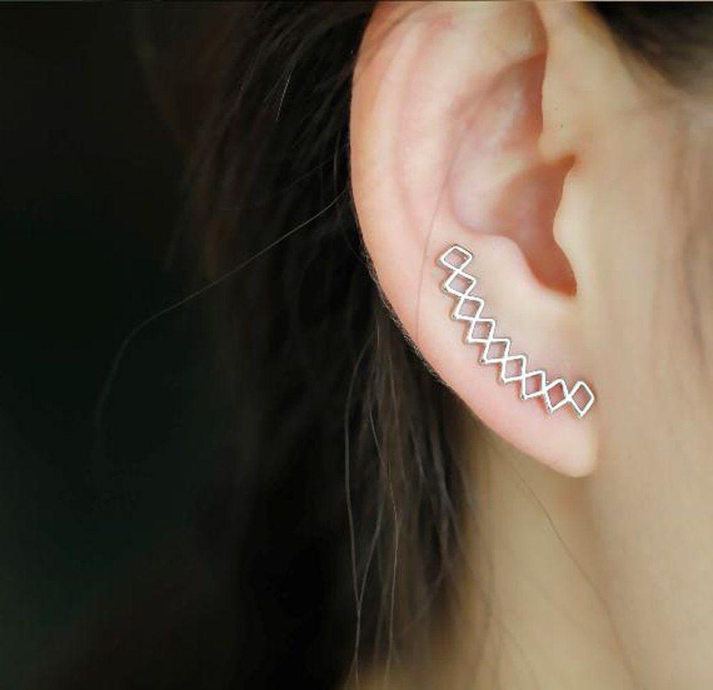 Cute lip piercing ideas  Daxx Geometric Diamond Criss Cross Ear Climber Crawler Earrings
