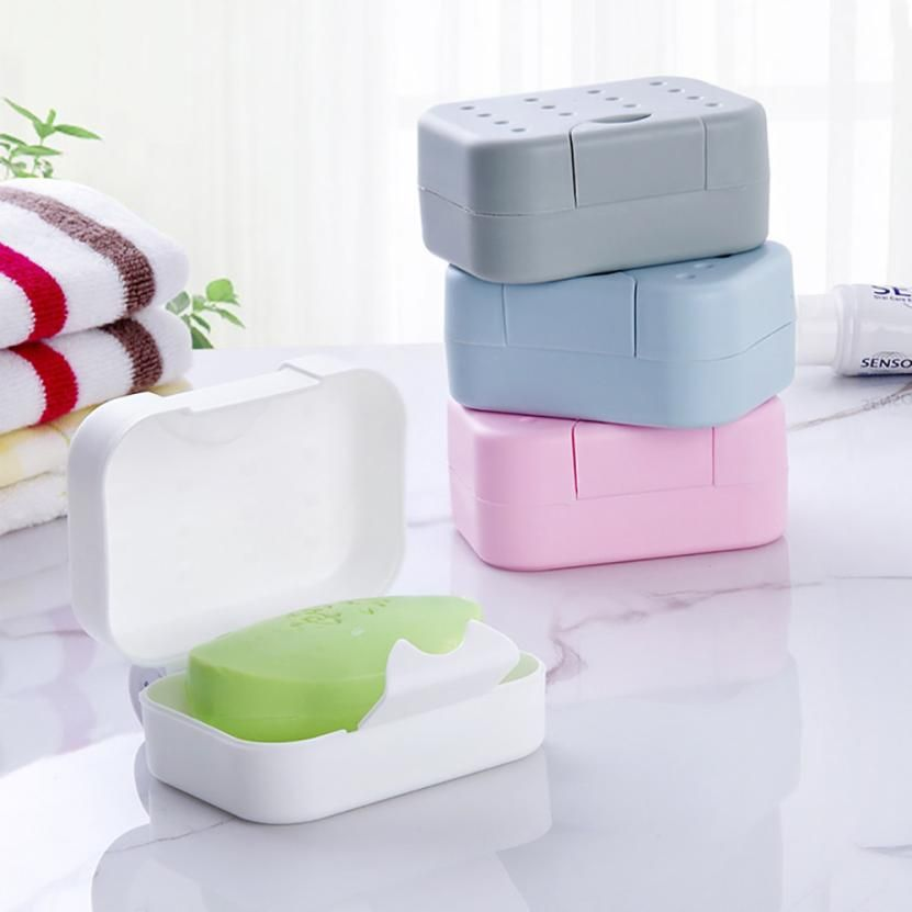 Portable Travel Plastic Soap Box Dish Holder With Lid Lock Leakproof Case Shower