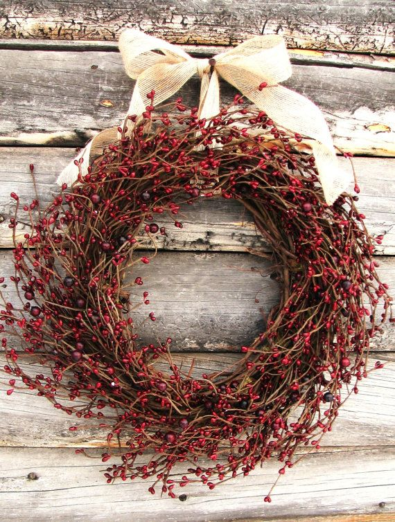 Photo of Primitive Country Wreath-Christmas Wreath-Rustic Farmhouse Decor-CRANBERRY RED Wresth-Scented Wreaths-Door Decor-Holiday Decor Gift