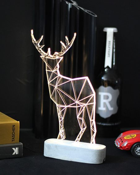 Large Modern Reindeer Lamp, Concrete Deer Lamp, Table Lamp, Deer Night  Light, Woodland Decorative Lamp