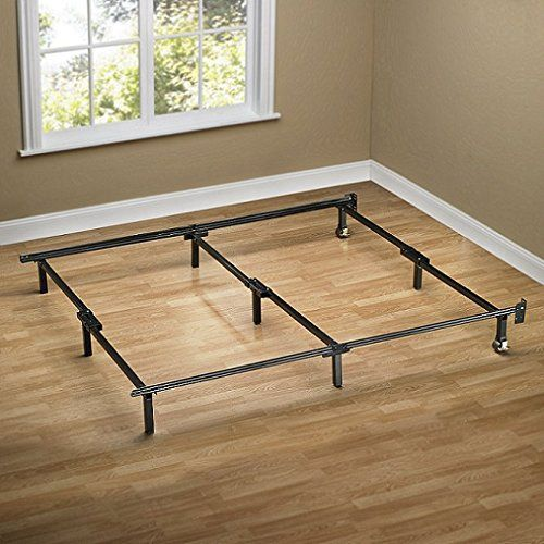 Hercules Universal Heavy Duty Adjustable Metal Bed Frame With Double Rail Center Bar And 7 Locking Rug Roll King