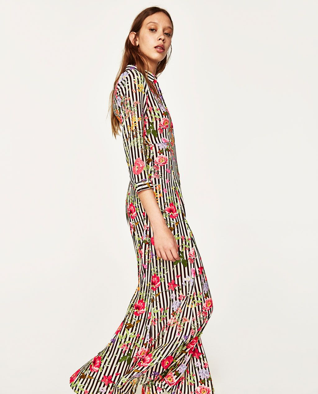 LONG STRIPED AND FLORAL PRINT DRESS-View all-DRESSES-WOMAN | ZARA ...