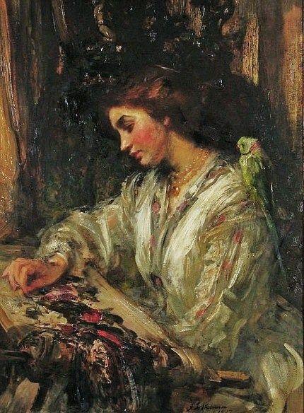 James Jebusa Shannon (American-born artist, 1862–1923), Embroidery 1907