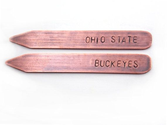 hand-stamped collar stays for groomsmen gifts