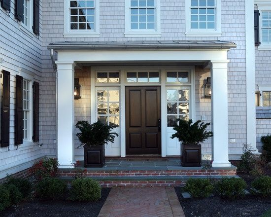 Solid Panel Front Door With Wide Sidelights Entryway In