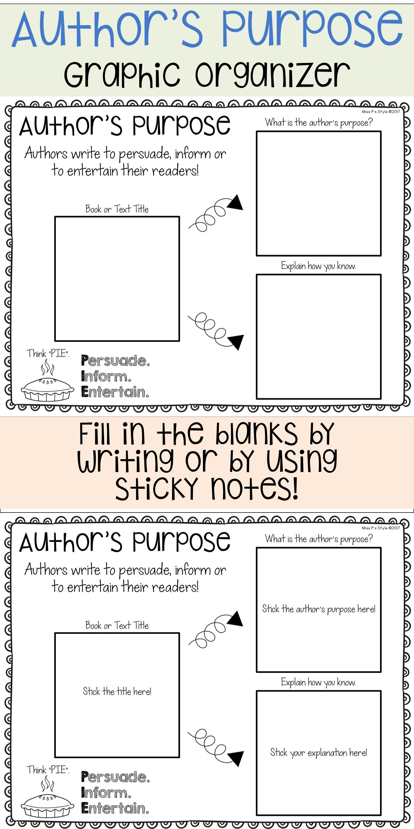 Author S Purpose Graphic Organizer Authors Purpose Author S Purpose Worksheet Reading Graphic Organizers