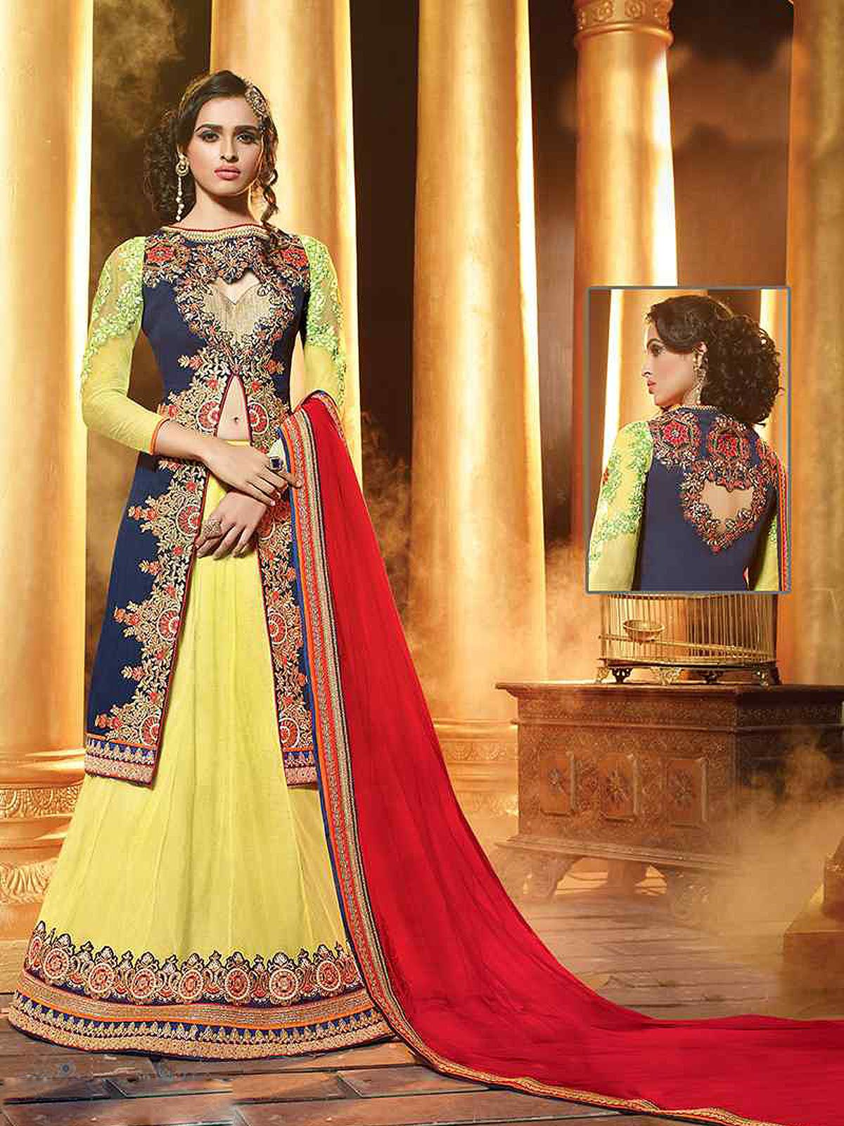 c5980ce9b28 Lovely yellow and navy blue net georgette party wear designer lehenga choli.  Having fabric net