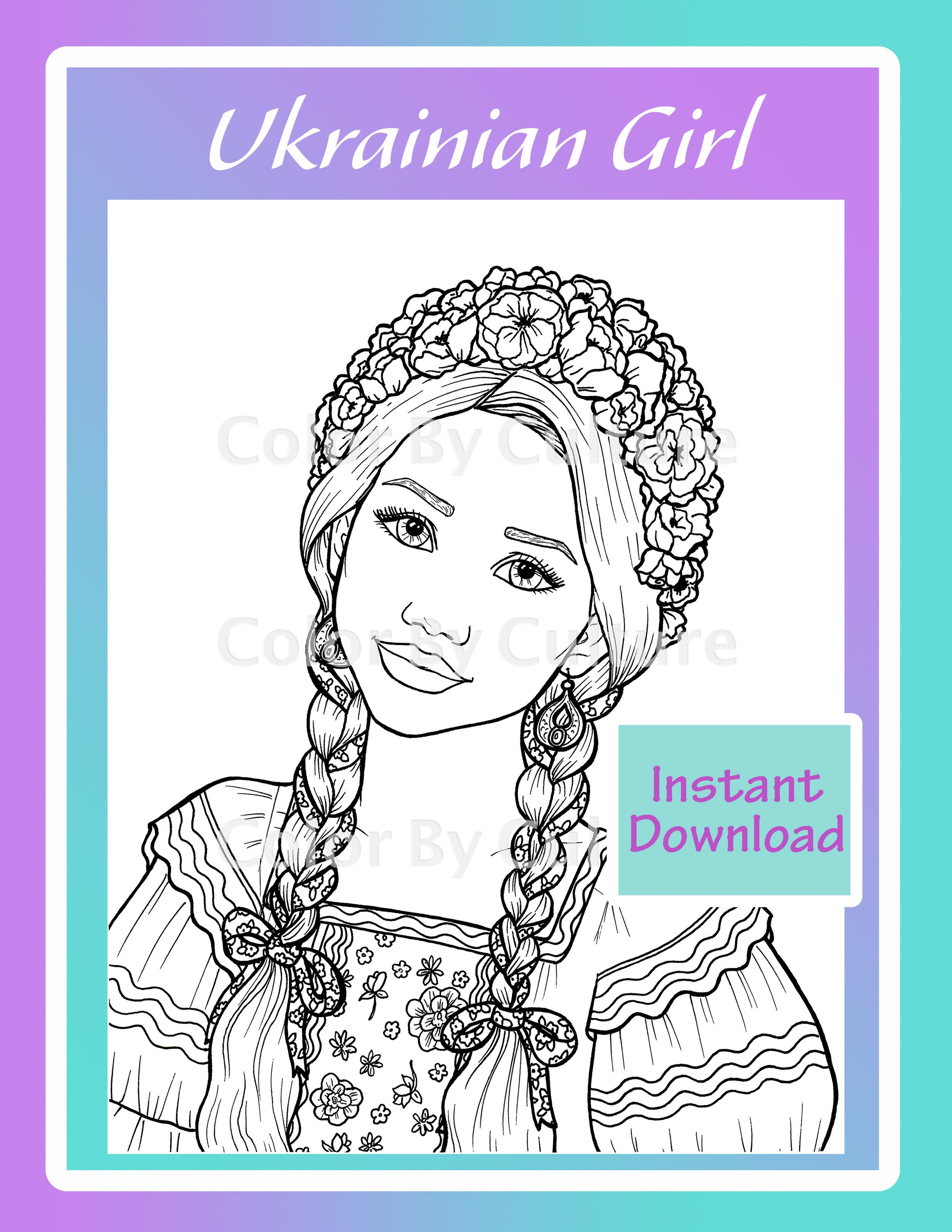 Ukrainian Girl Coloring Page Color By Culture Mermaid Coloring Pages Coloring Pages For Girls Coloring Pages