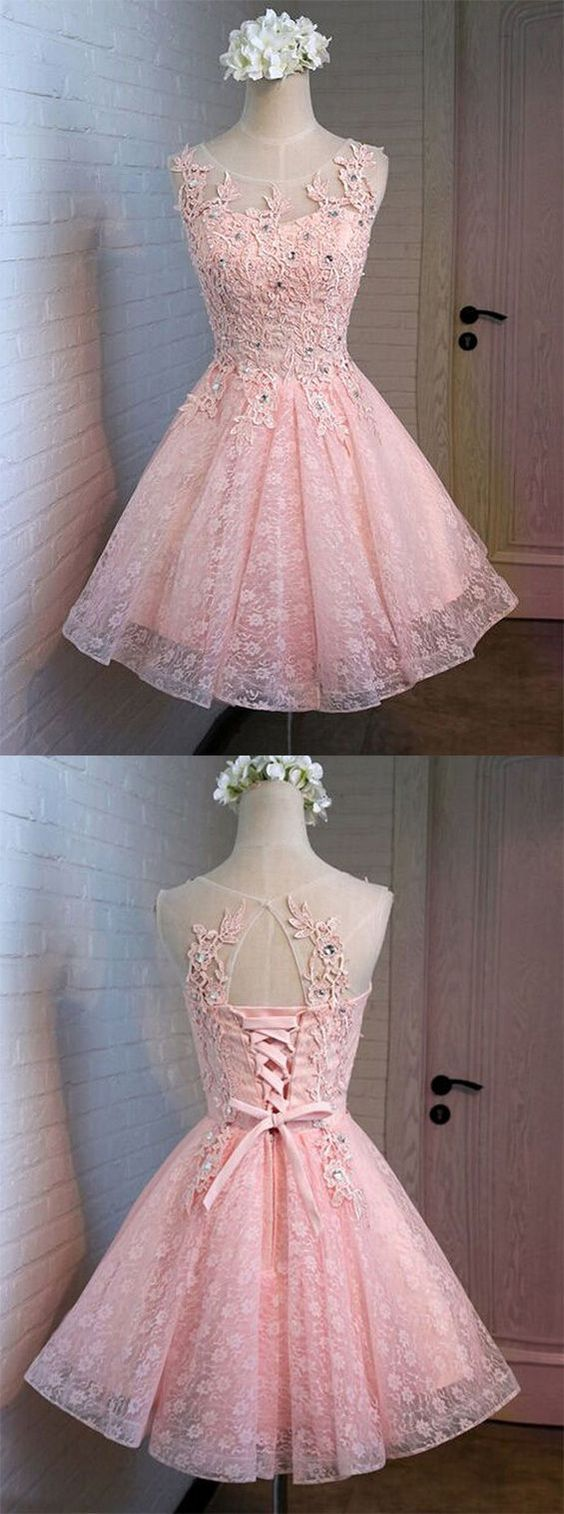 Pink prom dresses short homecoming dressfashion homecoming dress