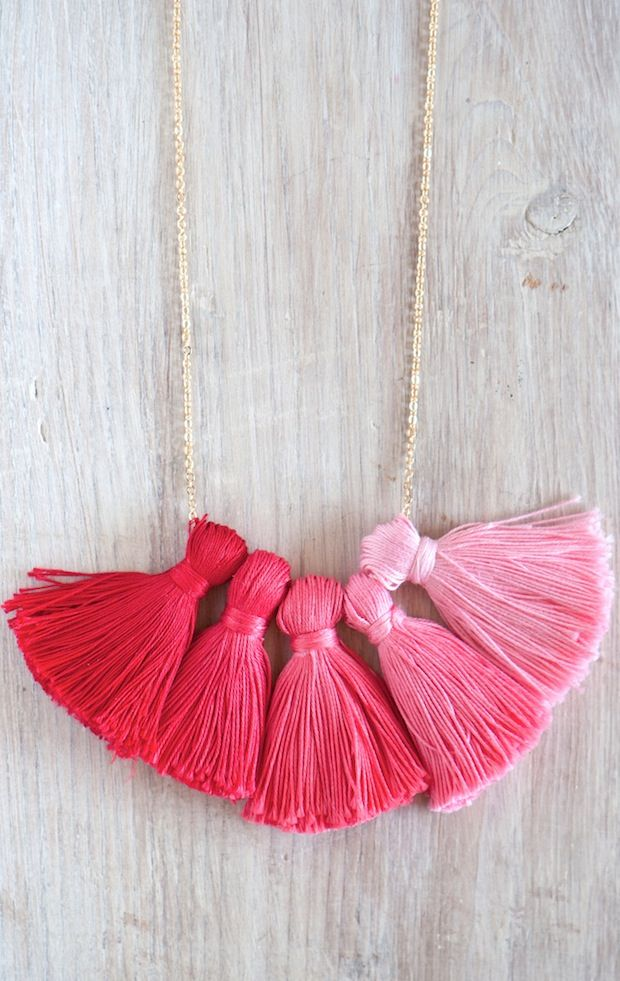 Hand dyed ombre tassel necklace.