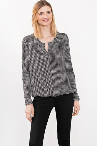 Esprit / Fließende Bluse im Henley-Stil