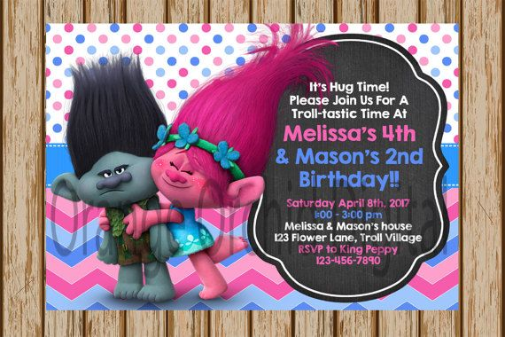 Trolls Birthday Invitations Party Poppy And Branch Invites 5 X 7 Size Digital