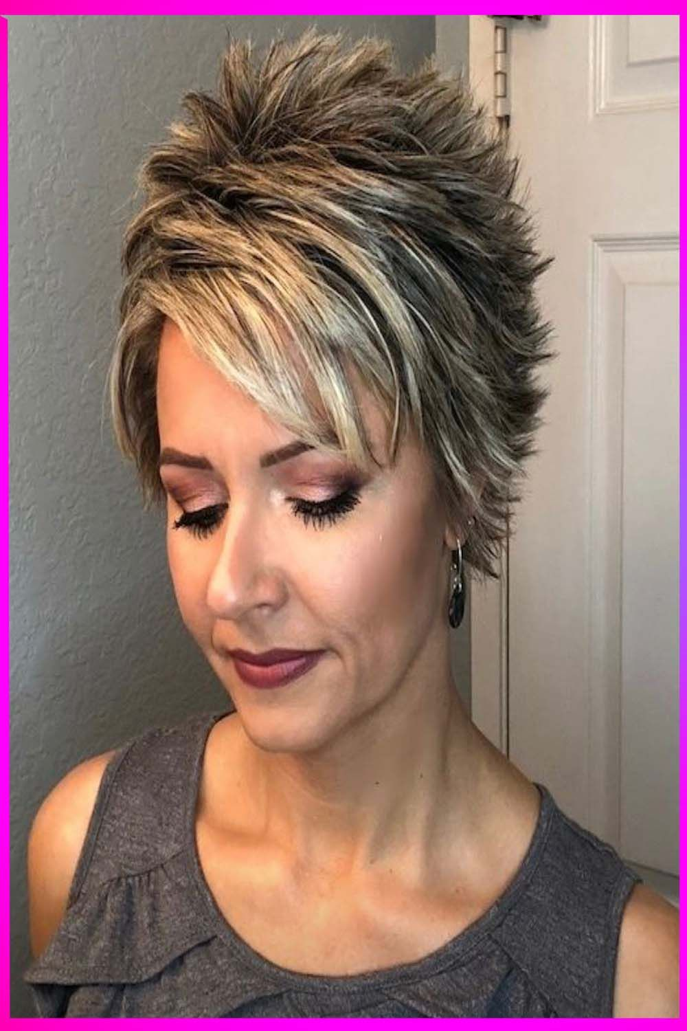 Spiky Gray Pixie With Undercut | Short spiky haircuts