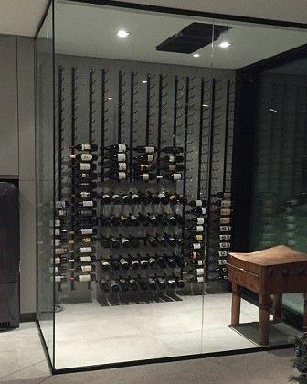 Beautiful Modern Custom Wine Room With Floor To Ceiling