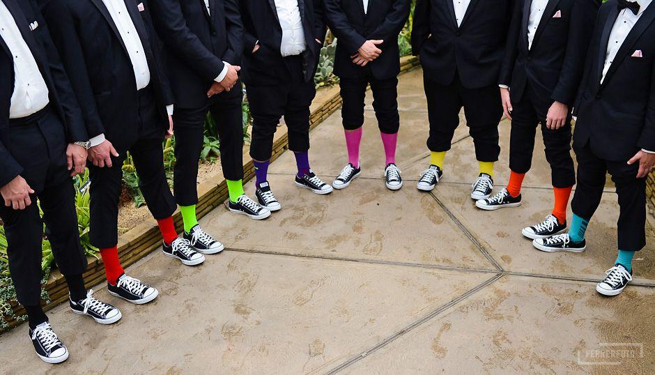 Groomsmen Neon Socks All Star Converse Chuck Taylor Wedding