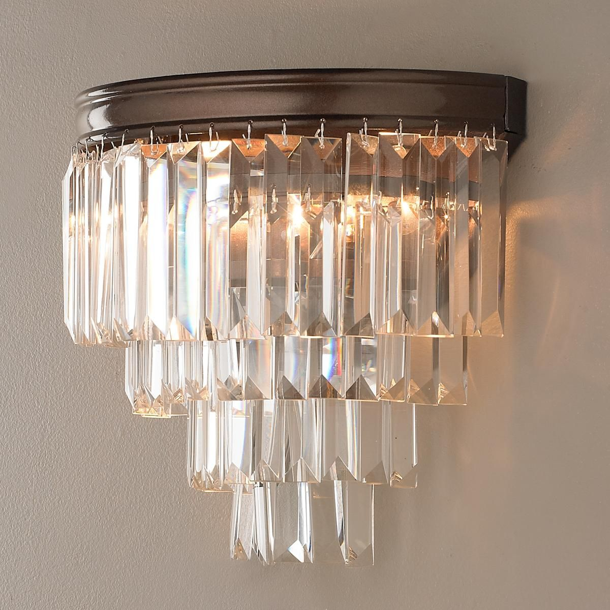 Modern Faceted Glass Layered Wall Sconce Crystal sconce, Glass crystal and Wall sconces