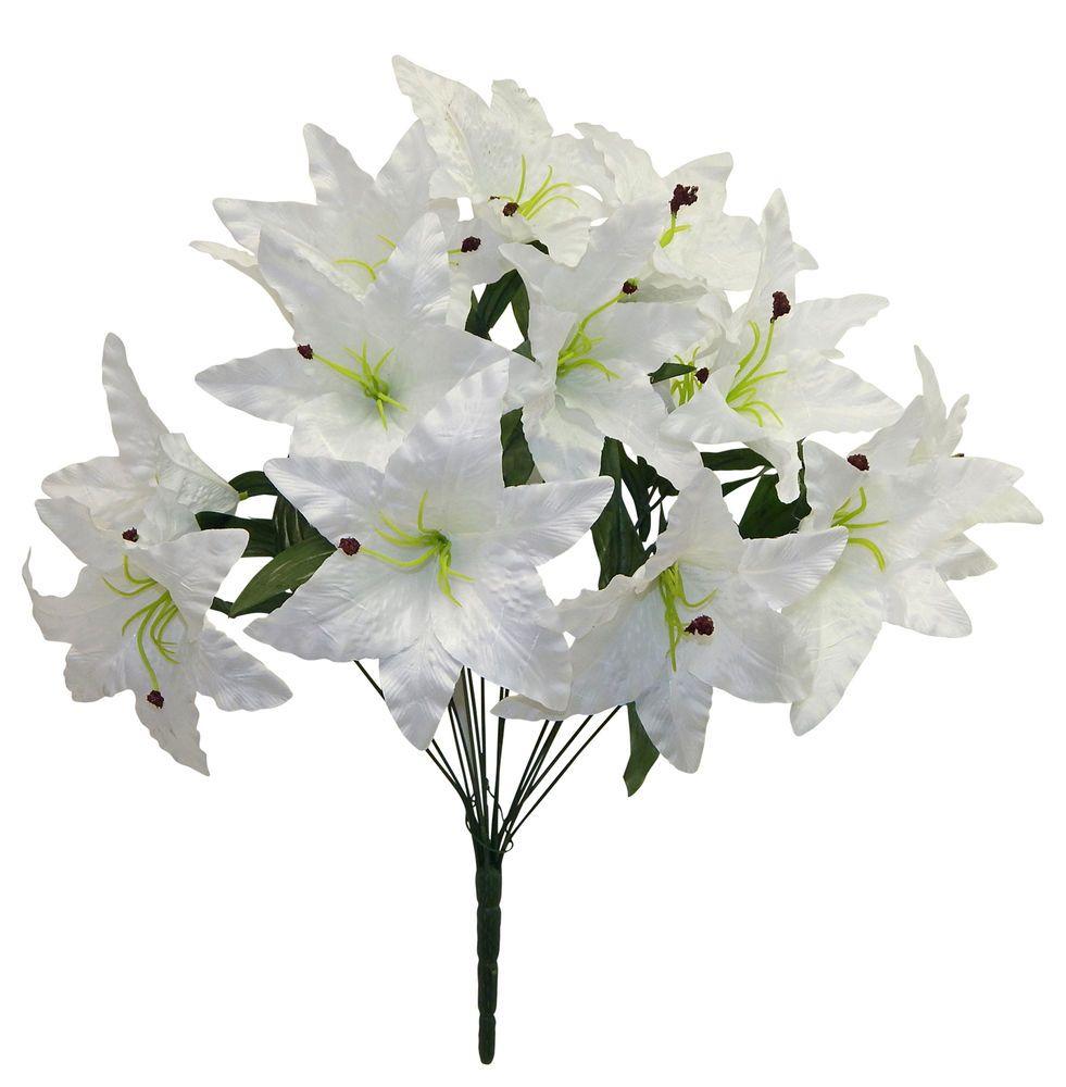 14 tiger lilies lily white silk wedding flowers bridal 14 tiger lilies lily white silk wedding flowers bridal centerpieces decor izmirmasajfo