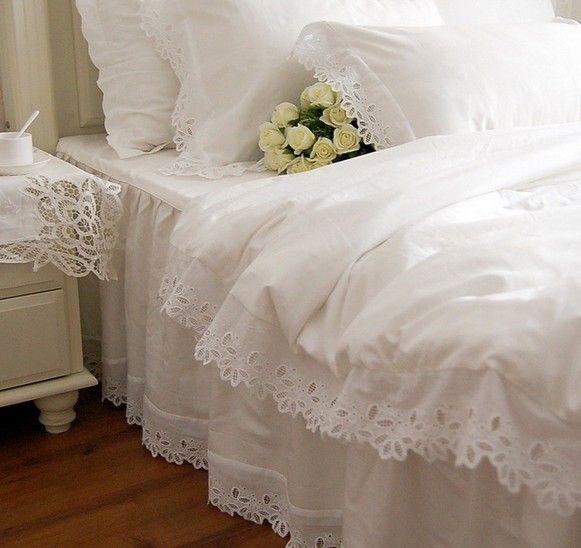 Lujo de encaje blanco ruffle lecho, twin completa reina rey algodón ...
