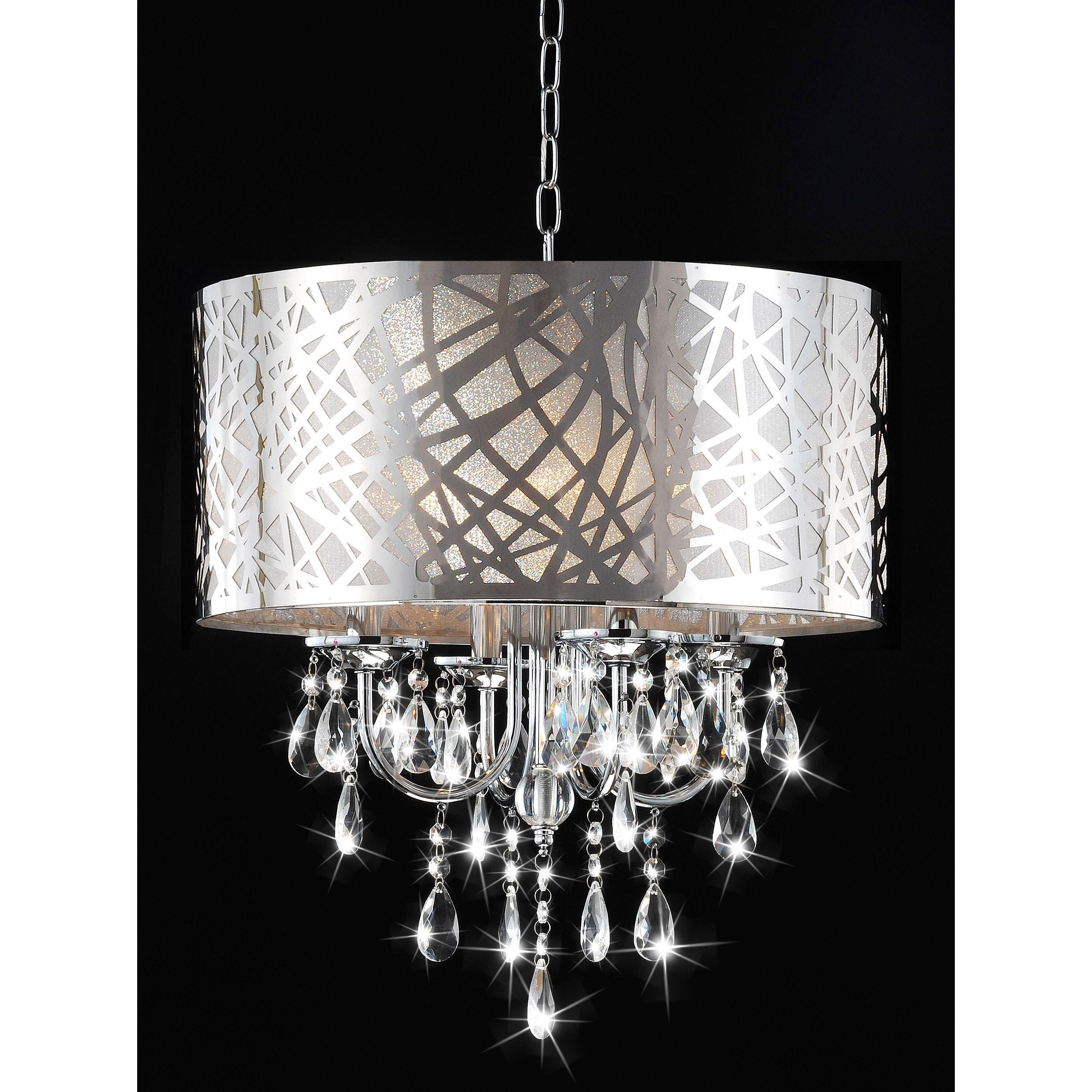 4 light Chrome Crystal Chandelier Silver
