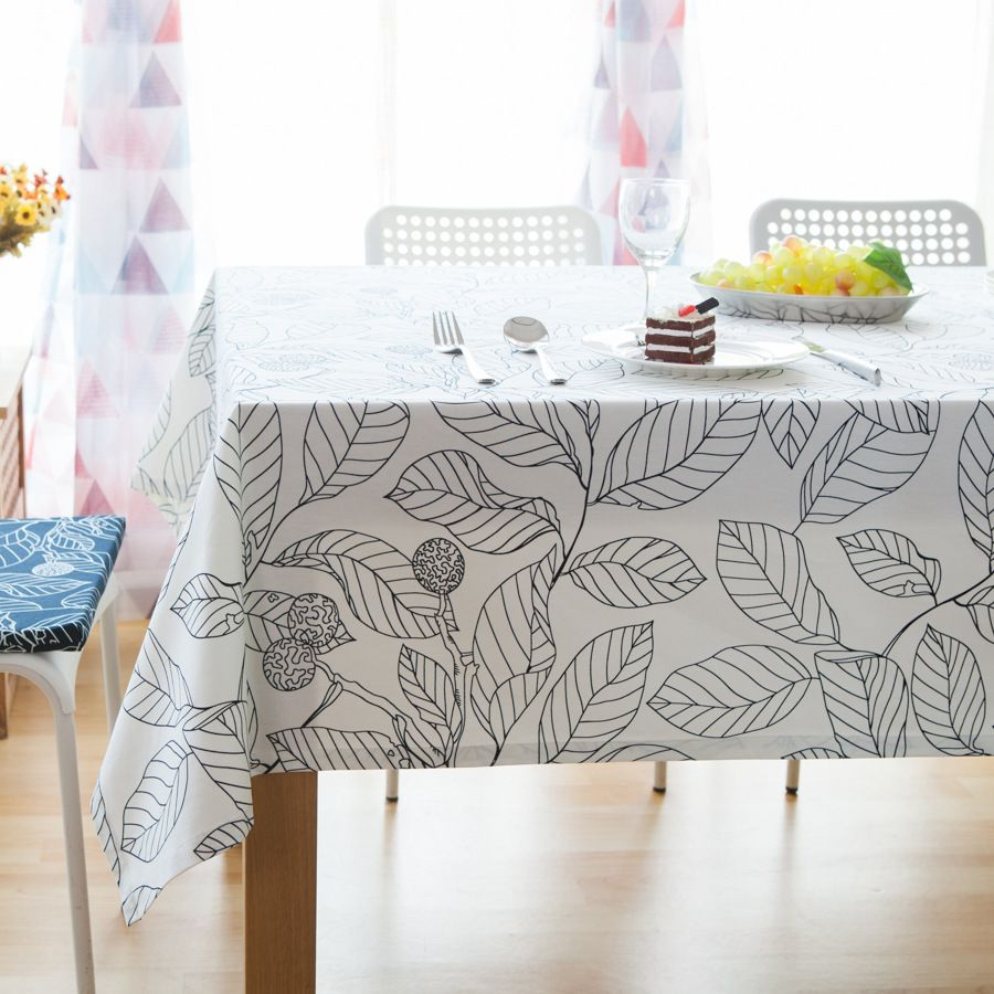 Yqm Promotion Modern Style Black And White Leaves Print Table Cloth For Party Picnic Hotel Home Deoration Rect Tablecloth Dining Coffee Table Cloth Table Cloth [ 900 x 900 Pixel ]