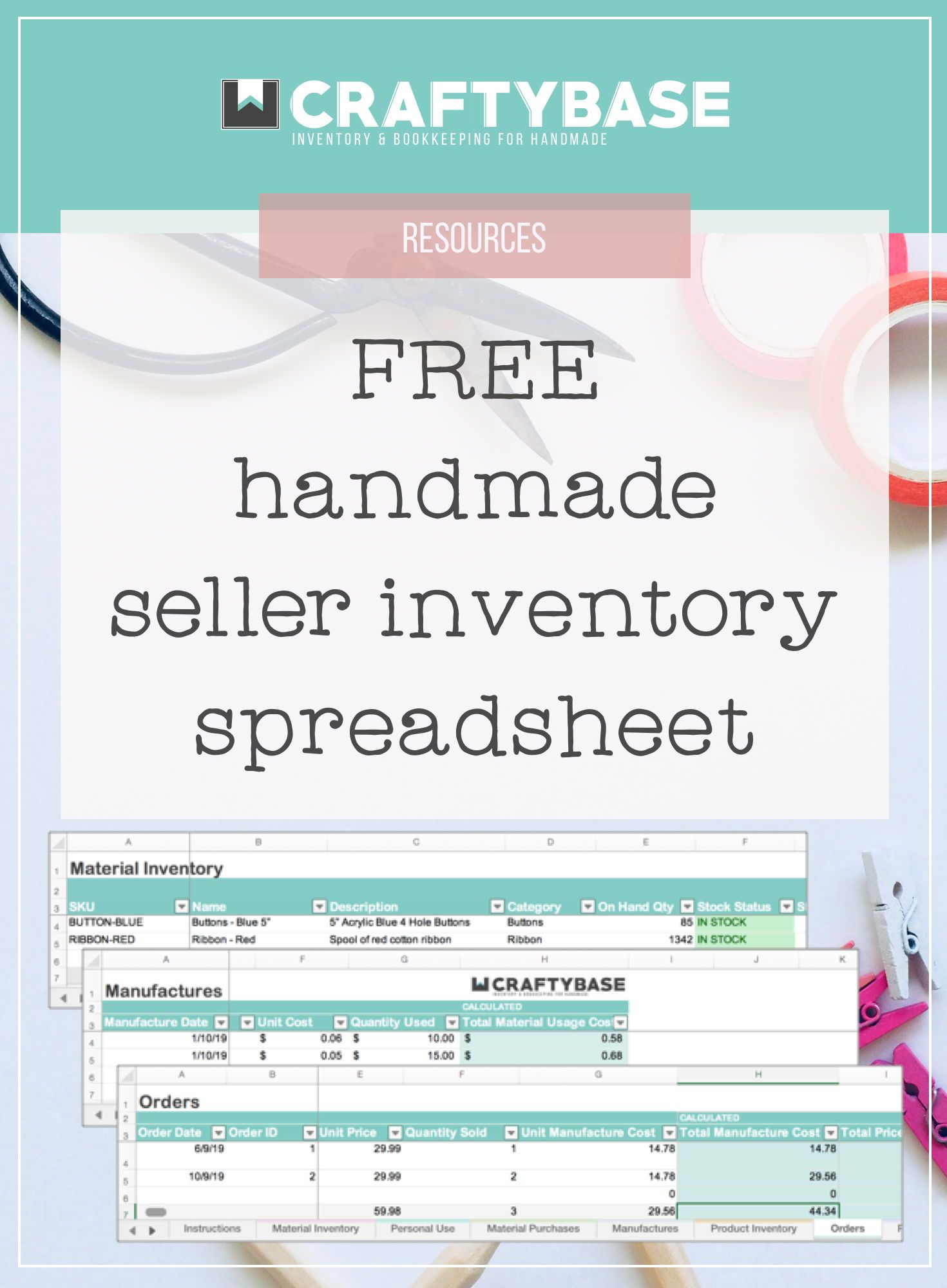Our FREE etsy seller spreadsheet is designed completely
