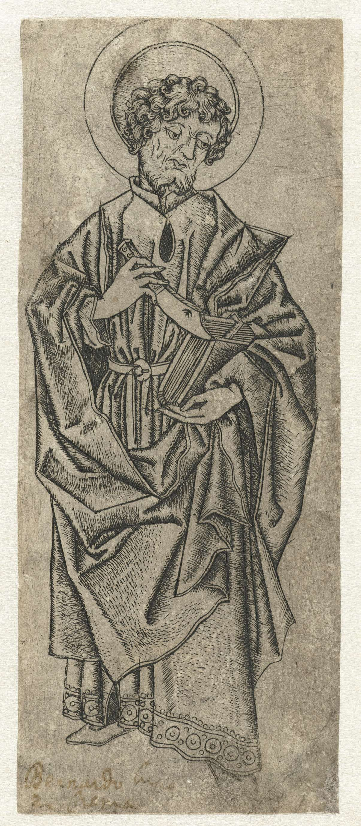 Monogrammist IA | Heilige Bartholomeus, Monogrammist IA, 1480 - 1500 | De heilige Bartholomeus met een mes in zijn rechterhand en een boek onder de arm.