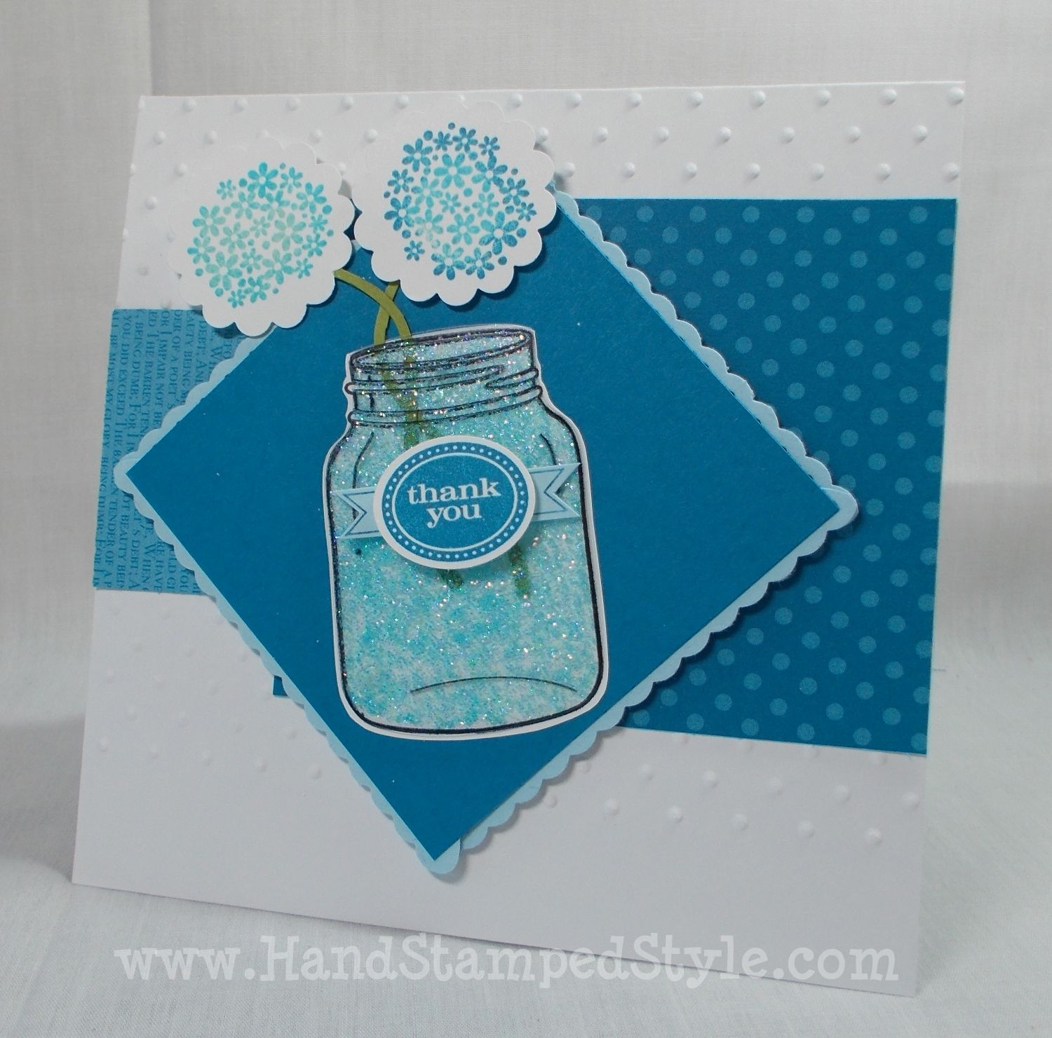 Perfectly Preserved Blue Glass Card- www.handstampedstyle.com