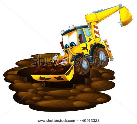 Cartoon Yellow Digger Stock Images Royalty Free Images Vectors Cartoon Car Cartoon Royalty Free Images