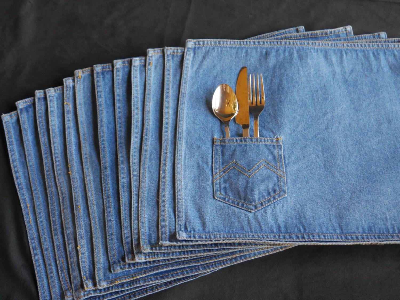 Twelve Vintage Denim Placemats Blue Jean Fabric Bbq
