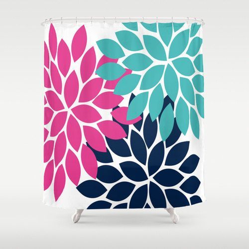Pink Turquoise Navy Shower Curtain Custom You By Honeydesignstudio