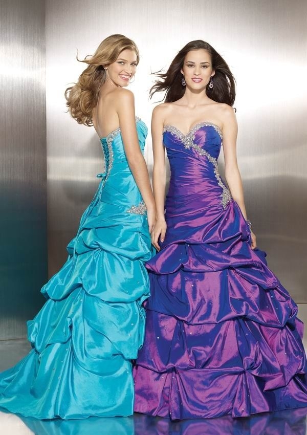 Affordbale Pleats Ruching A Line Long Prom Gowns Formal Dresses ...