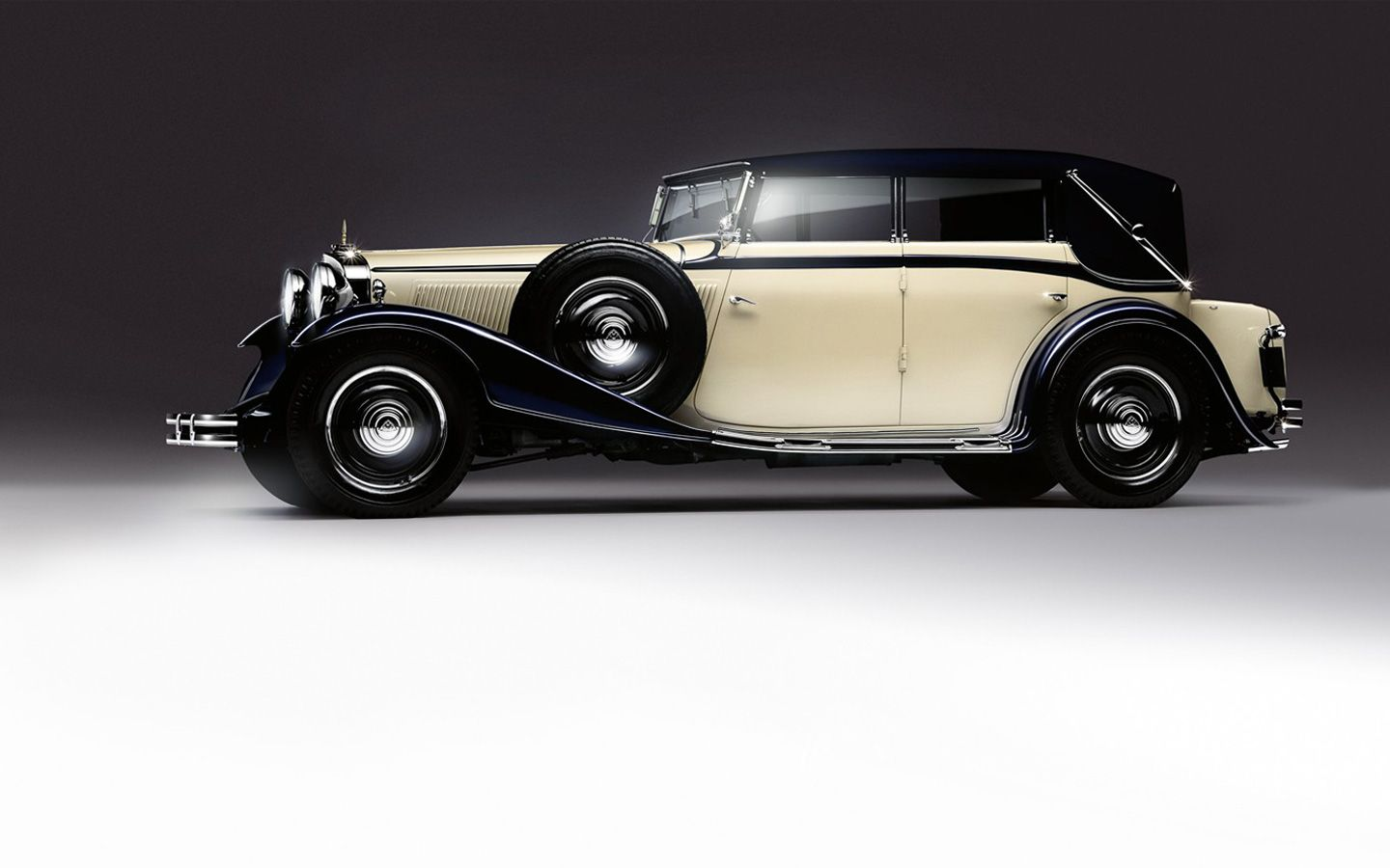 Classic black and white car