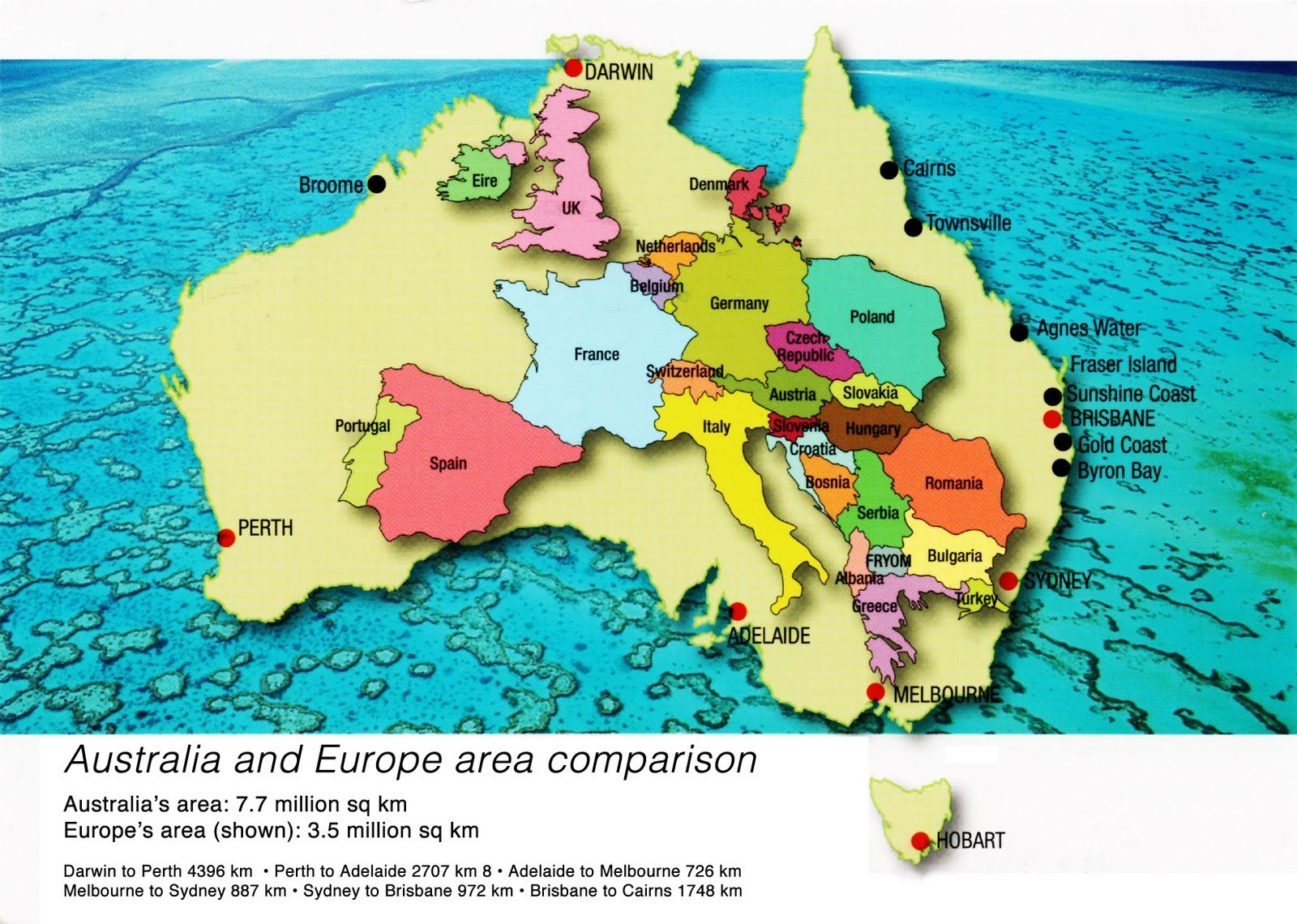 Australia and Europe area comparison – Melbourne Australia World Map