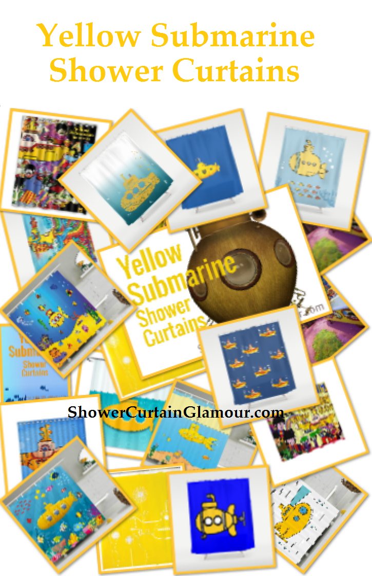 Fun Yellow Submarine Shower Curtains Great For Beatles Theme Under The Sea Or Bathroom Decor