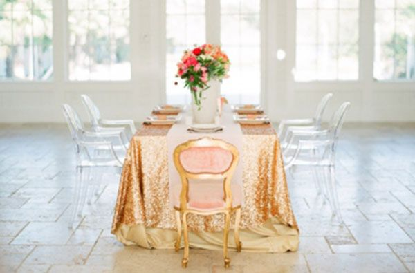 Shelby Peaden Events, Glamorous Wedding, Gold Table linens, Wedding Trends 2013