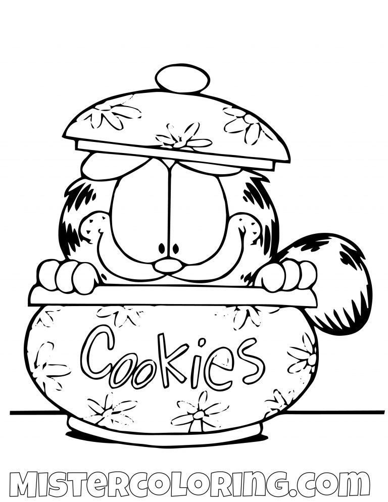 Garfield In A Cookie Jar Coloring Page Bunny Coloring Pages