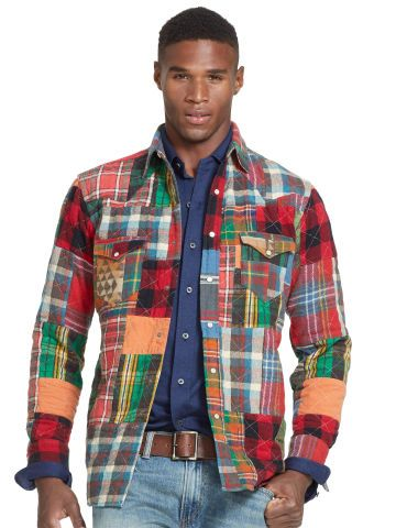 Polo Ralph Lauren Chemise Western Patchwork Mens Outfits Flannel Fashion Mens Clothing Sale