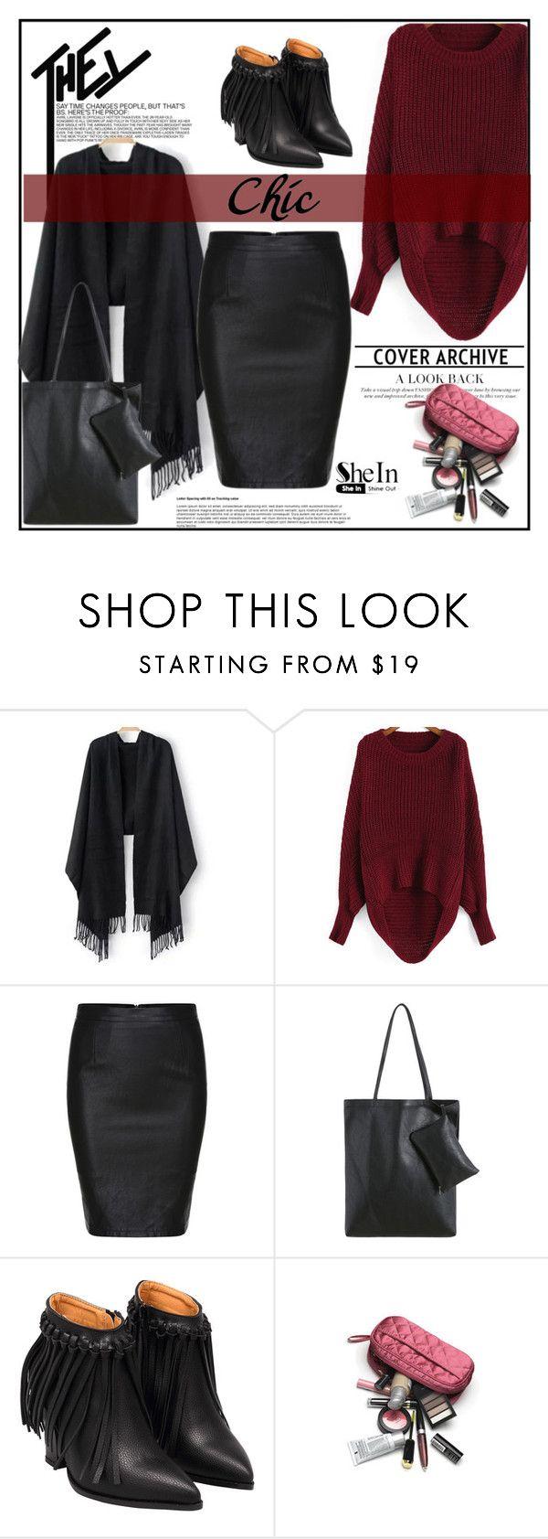 """""""Black Split Slim PU Skirt 9."""" by allanaaa11 ❤ liked on Polyvore featuring moda"""